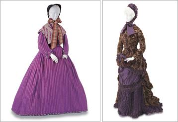 左:デイ・ドレス 1865年頃 イギリス