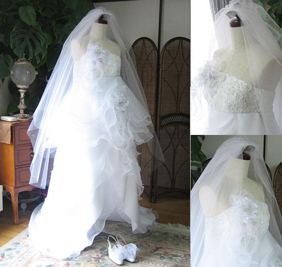 ウェディングドレス ミニ丈 2wayドレス
