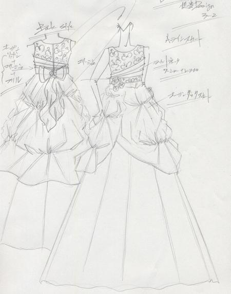ヴァイオリン 子供用発表会ドレス オーダー デザイン画