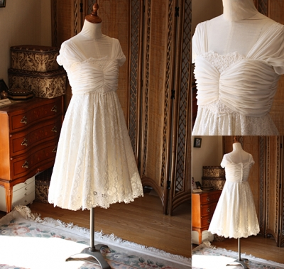 ウェディングドレス ミニ シルク