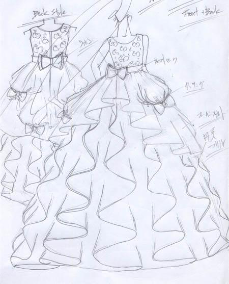 デザイン画 子供用ドレス