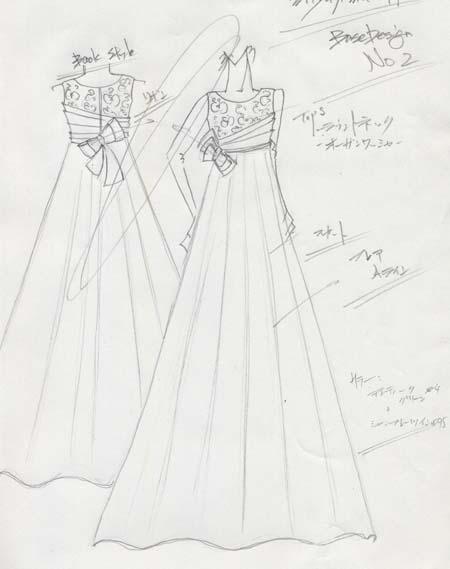 オーダードレス デザイン画 旭川のお客様