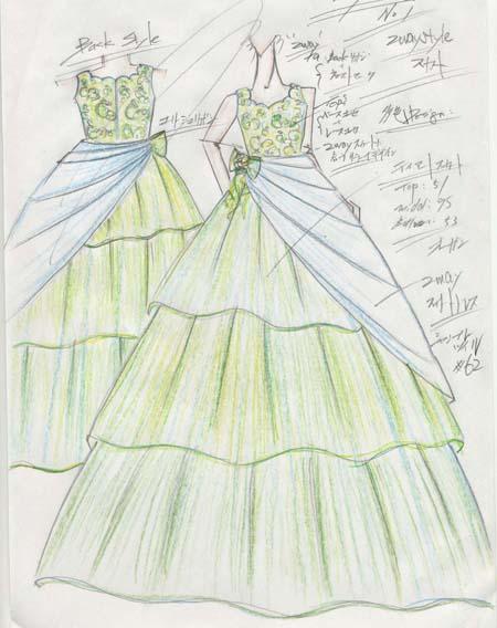 デザイン画 ピアノの発表会ドレス オーダー