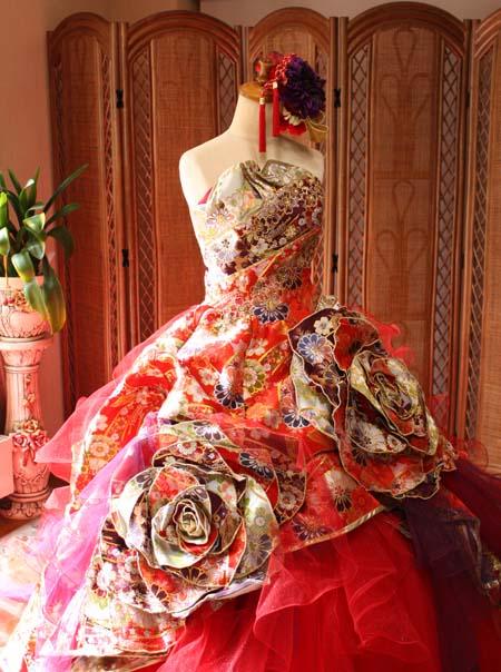 和装 カラードレス レッド