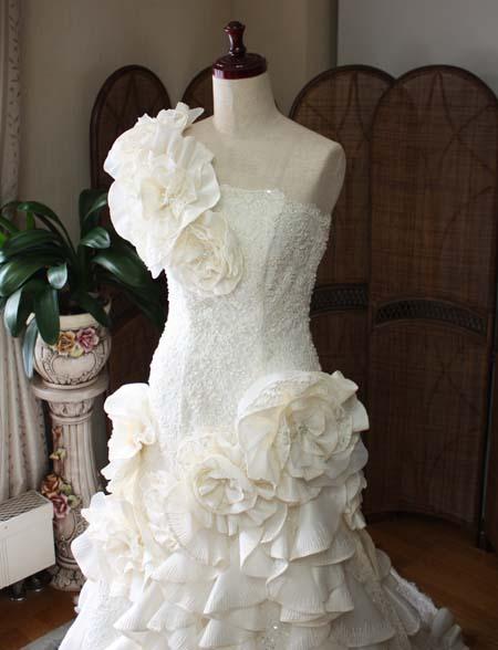 ワンショルダー ウェディングドレス