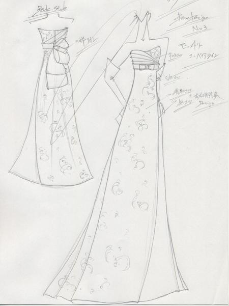 和装ドレス ウェディングドレス オートクチュールドレスのデザイン画