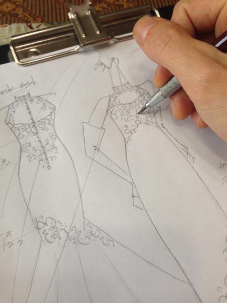 マーメイドドレスのデザイン画