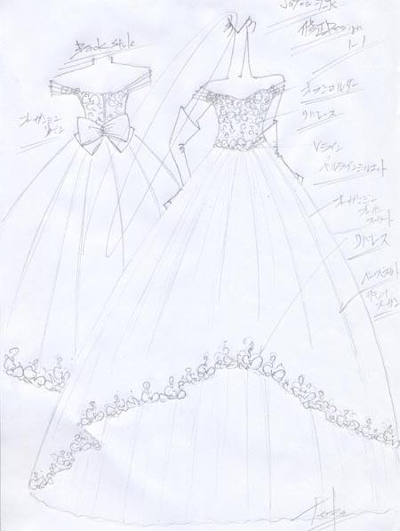 花嫁様ウェディングドレスをデザイン デザイン画