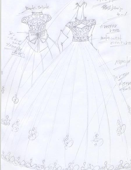 デザイン画 花嫁様ウェディングドレスをデザイン