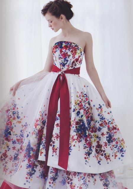 カラードレス お色直しドレス ホワイト&レッド