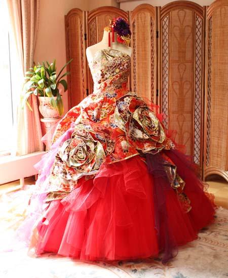 着物カラードレス