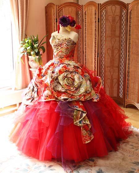 カクテルドレス。着物デザイン