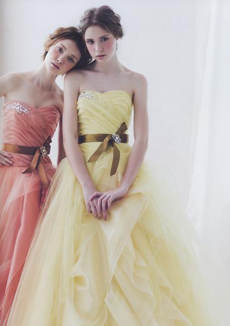 カクテルドレス 結婚式のお色直しドレス オレンジとイエロードレス