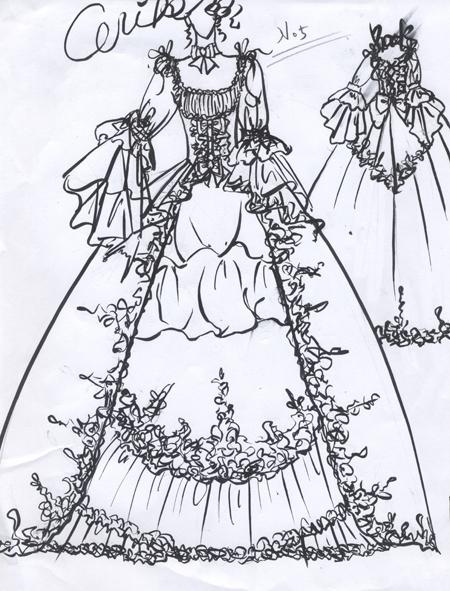 アンティークウェディングドレス ロココ調