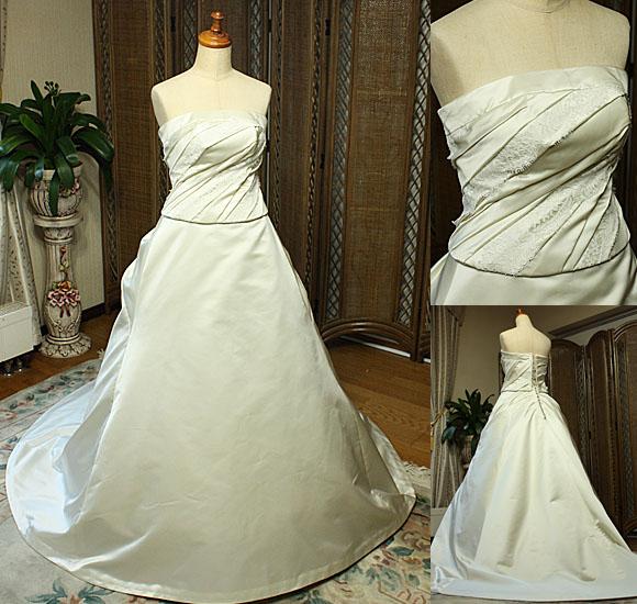 花嫁様のシルクサテンウェディングドレス オーダーメイドドレス