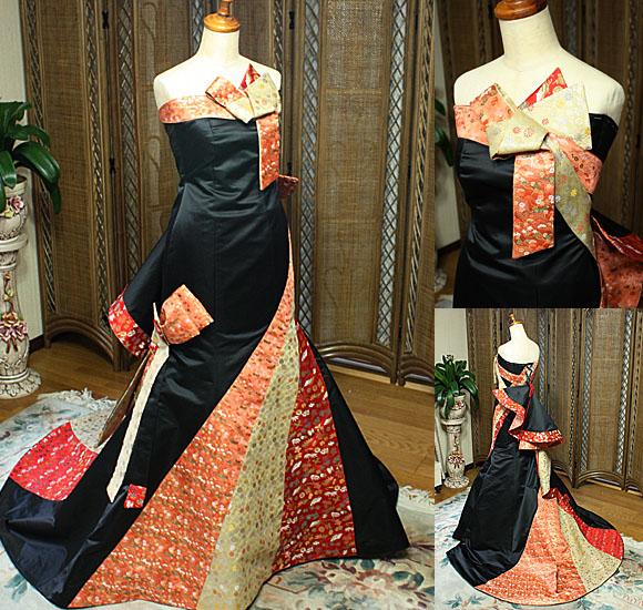 着物ウェディングドレス ブラック カラードレス