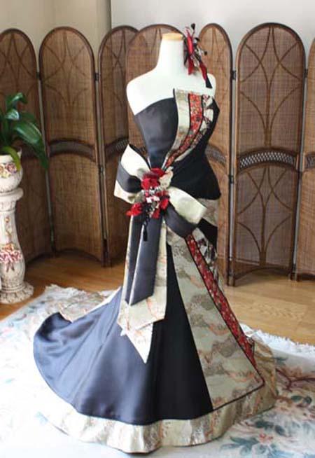 着物ウェディングドレス マーメイド ブラック