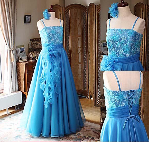 ピアノのコンクールドレス ターコイズブルー 高校生用ドレス