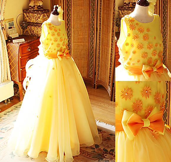 イエローとオレンジの受賞者コンサートドレス ピアノドレス