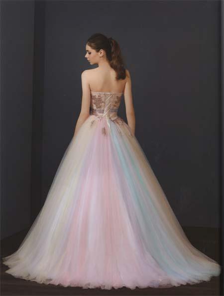 結婚式のお色直しカラードレス  ブロンズとレインボーカラードレス   レンタル 札幌店とさいたま店