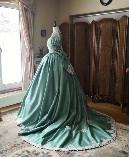 アンティークウェディングドレス ロココ調ドレス グリーンドレス