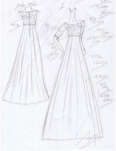 ヴィンテージドレス ウェディングドレスのデザイン画