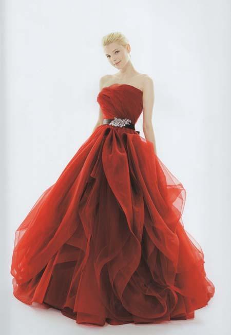 カクテルドレス  レッド お色直しカラードレス