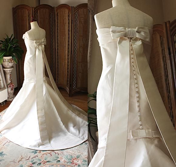 ミカドシルクのマーメイドウェディングドレス