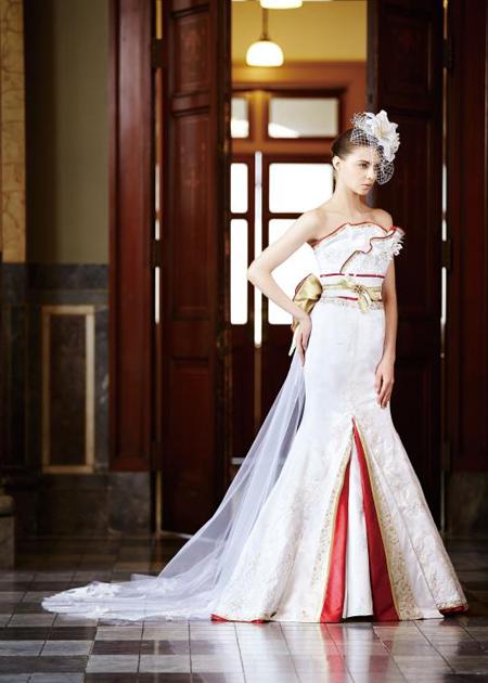 マーメイドラインの着物ウェディングドレス