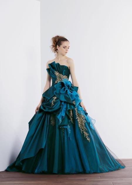 カクテルドレス  ブルーカラー お色直しカラードレス 札幌店 とさいたま店でレンタル可能