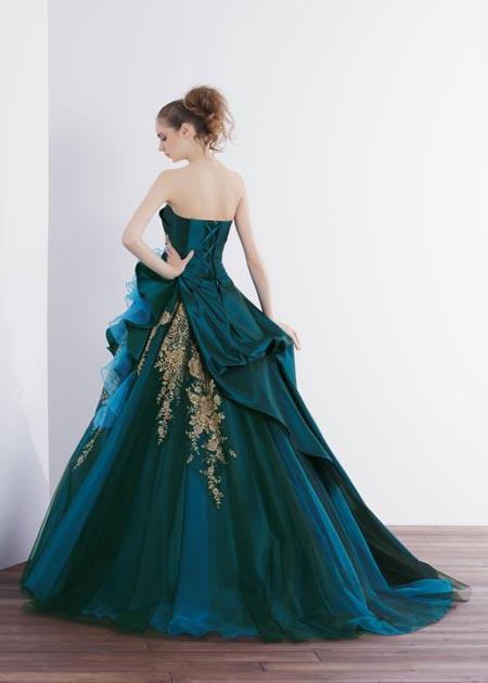 ブルーとグリーンのカラードレス レンタル バックスタイルデザイン