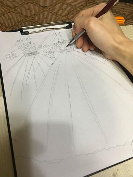 クラシックイメージのウェディングドレス製作開始