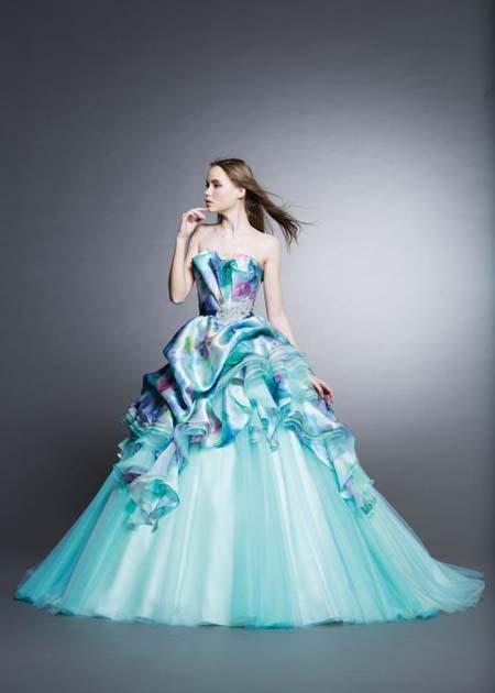 Aライン ブルーのカクテルドレス
