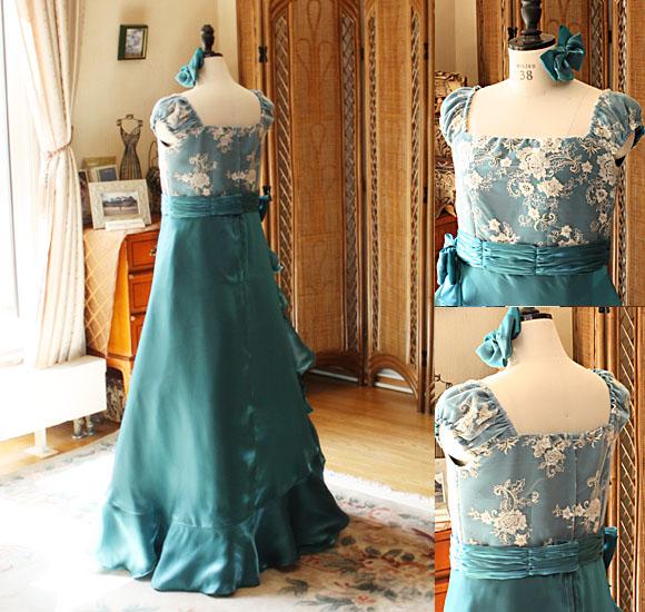 パフスリーブのジュニアサイズドレス