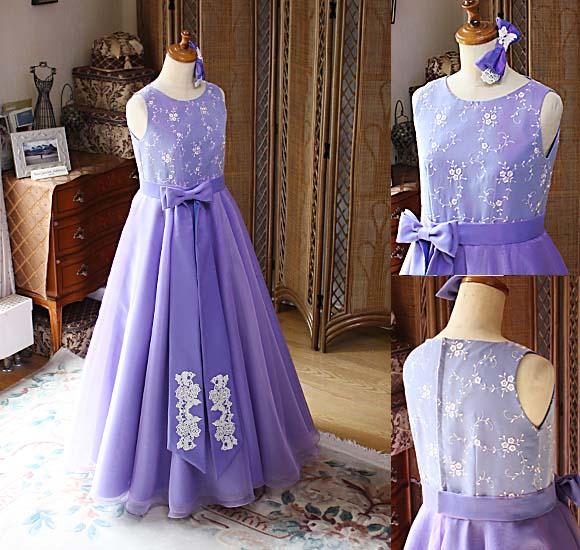 ピアノのコンクールドレス 紫のライトパープル