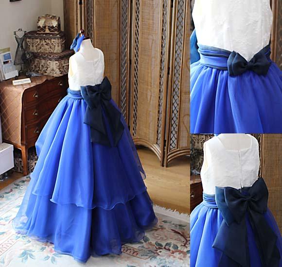 ミックスカラーのボリュームベルラインシルエット ピアノ用ドレス
