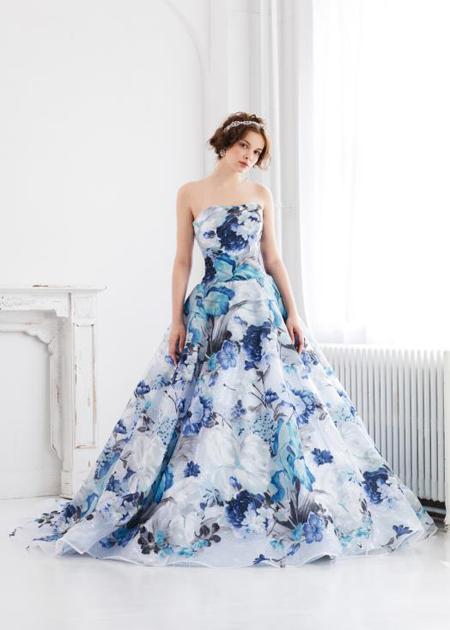 カクテルドレス プリント素材 ブルーカラー