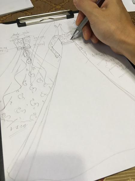 お客様のオーダーメイドウェディングドレスのデザイン立案