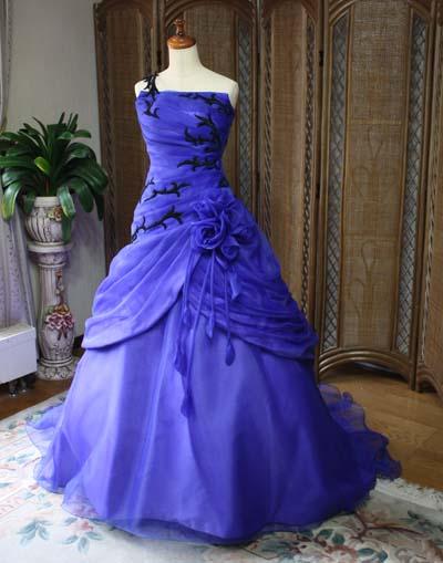 2WAYスタイルウェディングドレス ブルー オーダーメイド