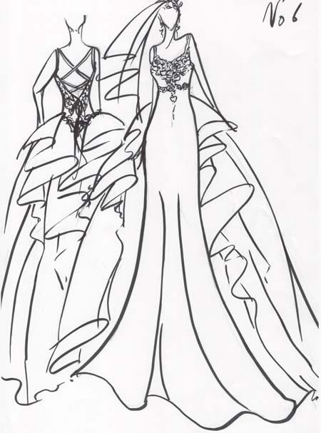 花嫁様の理想を描いたウェディングドレスのデザイン画