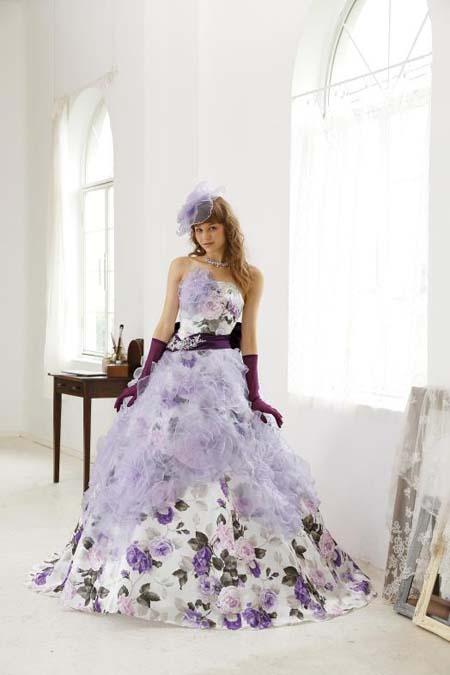 ラベンダーカラーのお色直しカラードレス