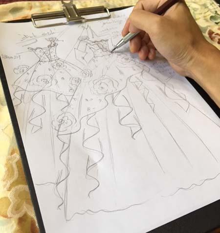 着物生地を使用したドレス デザイン画