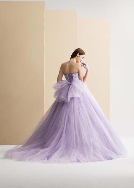 ラベンダーのお色直しカラードレス