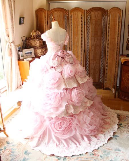 カクテルドレス ピンク バックスタイル
