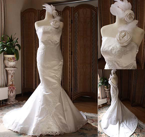 シルク素材のマーメイドウェディングドレス