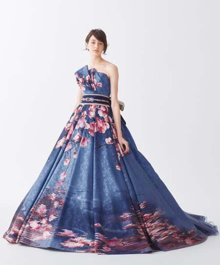 着物のカクテルドレス お色直しカラードレス ネイビー