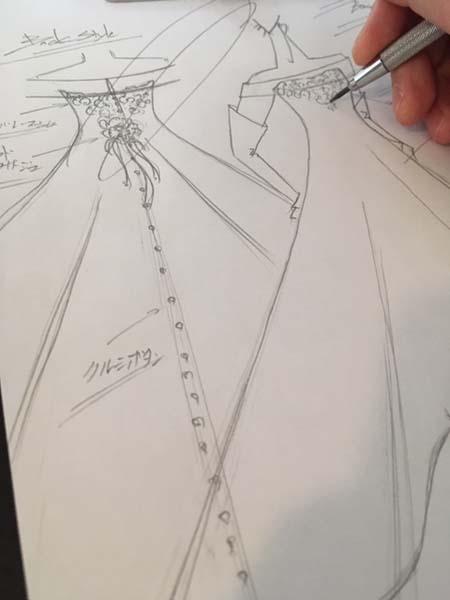 お客様のウェディングドレスのデザイン オーダーメイドウェディングドレス 札幌店