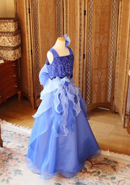 ピアノのコンクールドレス ブルーのグラデーションスカート Aライン