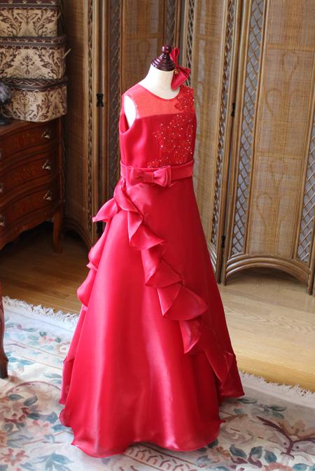 レッド ジュニアサイズドレス ピアノドレス