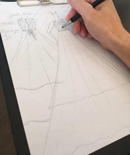 ロングドレスのオーダーメイド制作 デザイン画